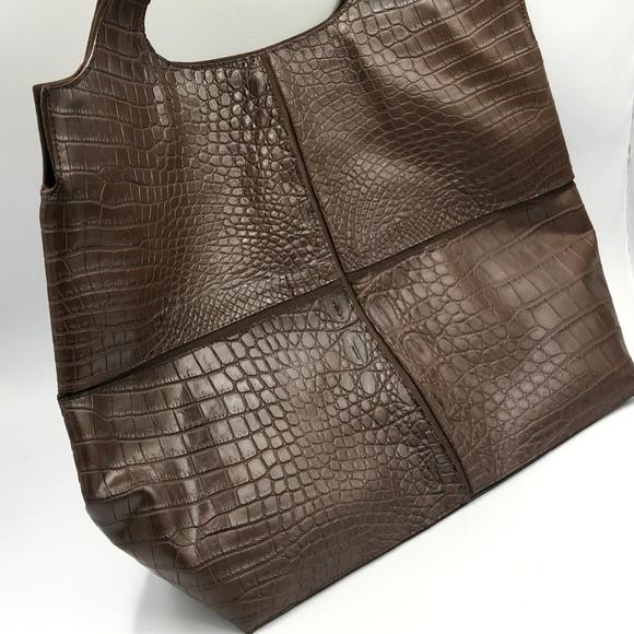 Raven Kauffman Handbags - Raven Kauffman Brown Croc Calf Bag NEW